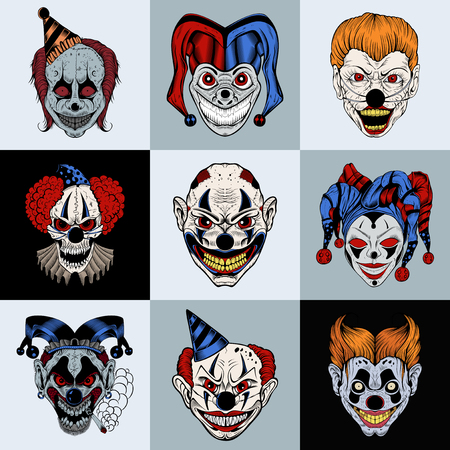 Set of nine images with painted fantastic cartoon scary clown. Vectores