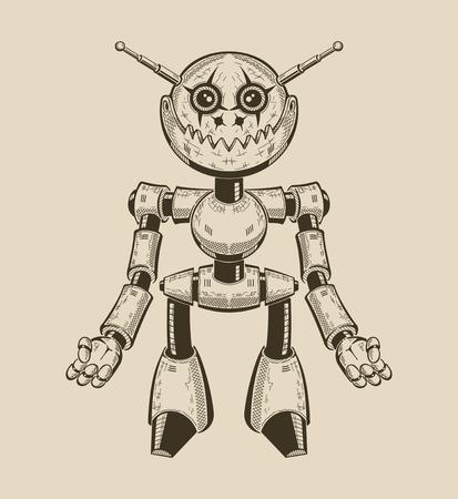 만화 재미 금속 로봇의 이미지. 벡터 일러스트 레이 션. 일러스트