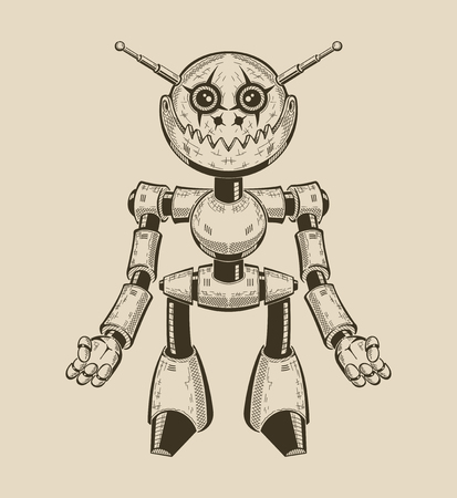 Image of a cartoon fun metal robot with antennas. Vector illustration. Illustration