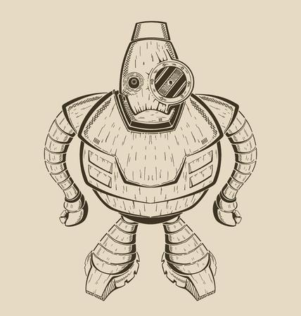 그것은 만화 재미있는 철 로봇의 이미지입니다. 벡터 흑백 그림입니다. 일러스트