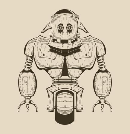 It is an image of cartoon iron robot. Vector monochrome illustration.
