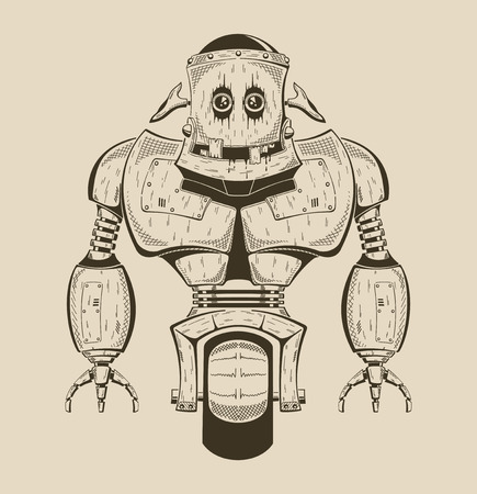 It is an image of cartoon iron robot. Vector monochrome illustration.