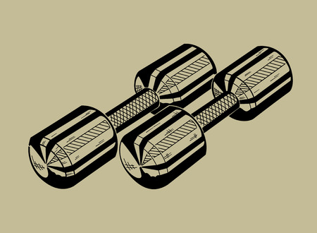 Illustration of dumbbell. Sports equipment, fitness simulator. Vector graphic.