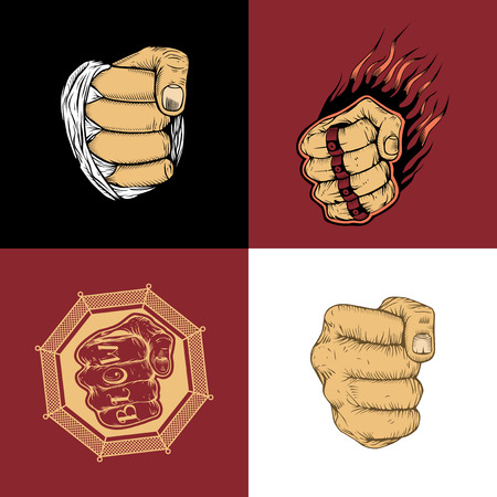 The set of four images with hand drawn fists.