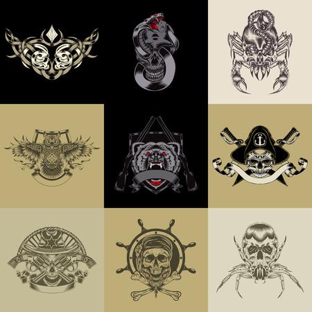 strong skeleton: Set of nine art label. Vector iilustration.