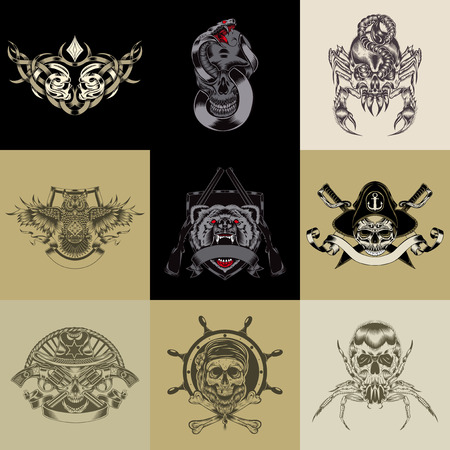 Set of nine art label. Vector iilustration.