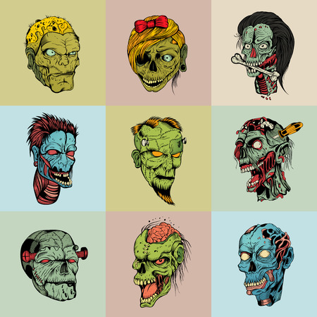 Set of nine drawn image with the zombie skull. Illustration