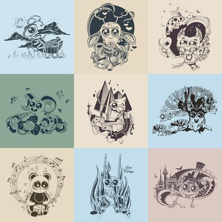 만화 같은 그린 환상적인 생물 9 개 이미지의 집합입니다.