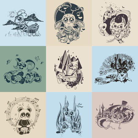 Set of nine images with painted fantastic creatures cartoonish.