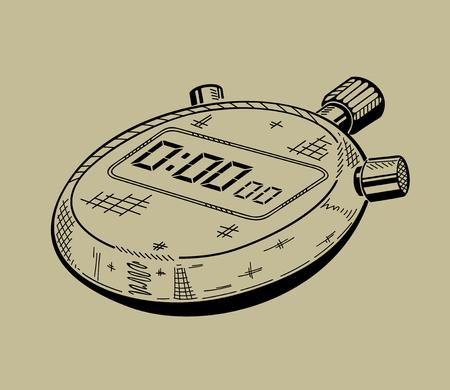 스톱 워치의 그림입니다. 스포츠 장비. 벡터 그래픽입니다. 일러스트