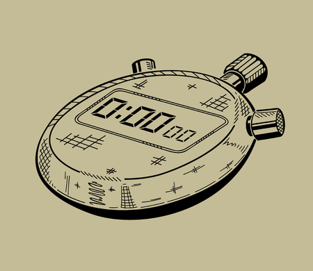 Illustration of stopwatch. Sports equipment. Vector graphic.