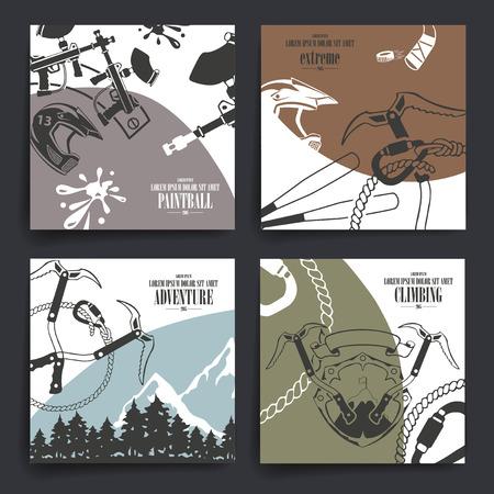 브로셔 또는 전단지 디자인. 극단적 인 스포츠 테마 아이콘입니다. 오토바이, 모험, 페인트 볼 및 등산.
