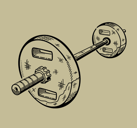 Illustration of barbell. Sports equipment, fitness simulator. Vector graphic.
