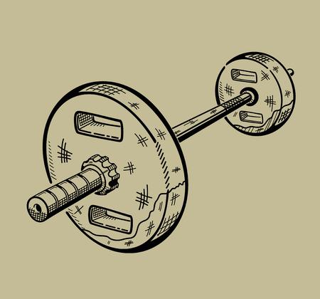 Illustration of barbell. Sports equipment, fitness simulator. Vector graphic. Stock Vector - 48354676