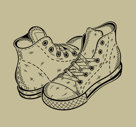 The image of sneakers. Sport shoes. Vector graphics.