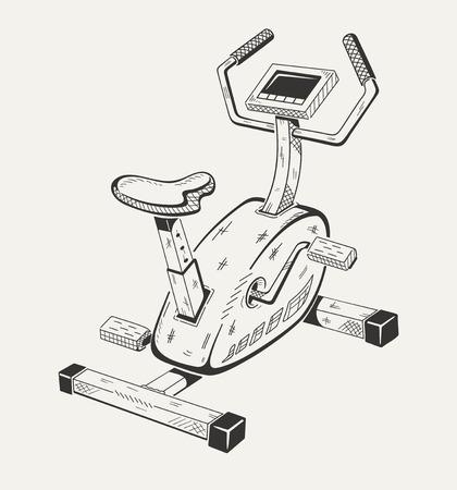 Exercise bike. Sport equipment. Vector graphics. Ilustracja