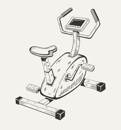 Exercise bike. Sport equipment. Vector graphics. Illustration