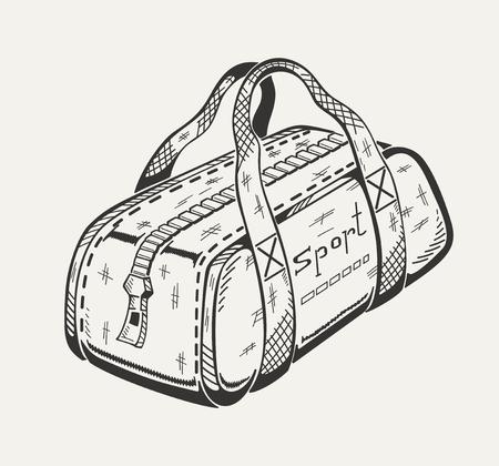 스포츠 가방의 단색 그림입니다. 벡터 그래픽.
