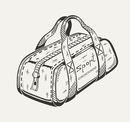Monochrome illustration of sports bag. Vector graphics.