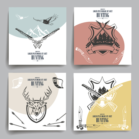 Brochure or flyers design. Weapons, animals and hunting equipment icons. Template.
