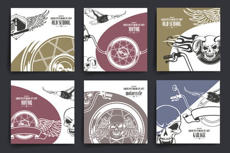 Brochure or flyers design. Motorcycle and  extreme sport theme icons. Template.