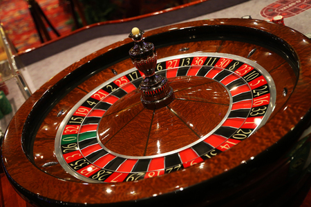 Royal flush on a red background. Stock Photo