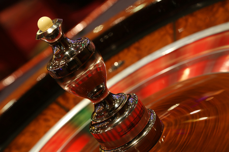 Spinning blured roulette in casino.