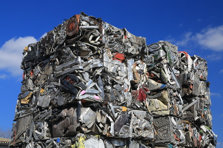 Scrap metal, wrecked and crushed parts Stock Photo