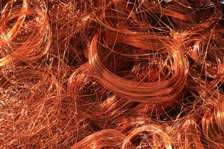 copper wire for scrap piled up Archivio Fotografico