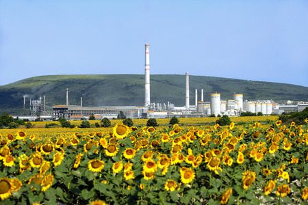 Industrial power plant and the nature - eco concept Banque d'images