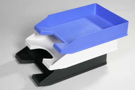 empty plastic document trays 写真素材