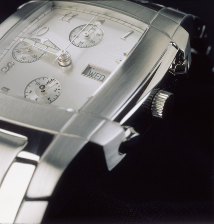 close up of luxury man watch, silver