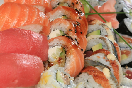 A large set of sushi rolls Stockfoto