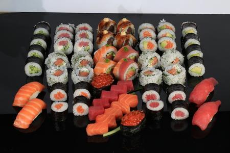 A large set of sushi rolls Stock Photo
