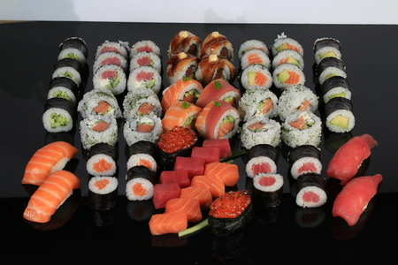 A large set of sushi rolls 版權商用圖片