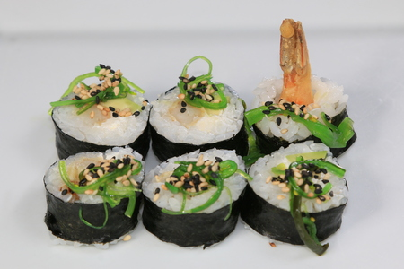 Sushi rolls served on a plate Stockfoto