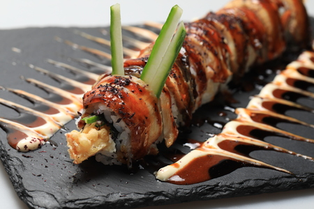 Sushi roll philadelphia different kinds, closeup of food Stock Photo