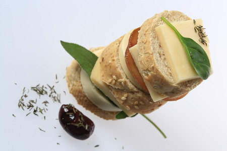 Sandwich with cheese and bread