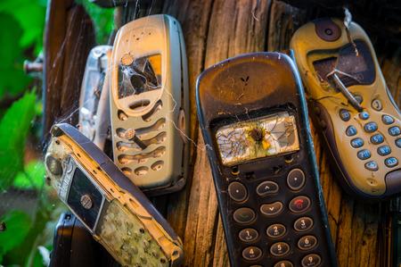 nailed: Broken mobile phones nailed to a trunk Stock Photo