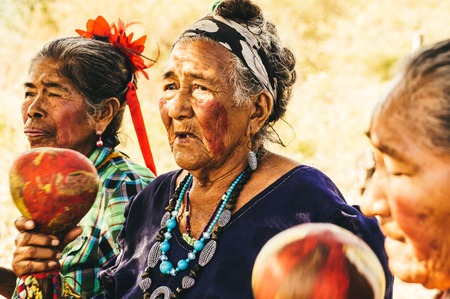 female shaman: Pantanal, Paraguay in August 2015: Old Paraguayan indigenous Guarani women perform a song to demonstrate the government having taken their land - Pantanal, PARAGUAY in August 2015