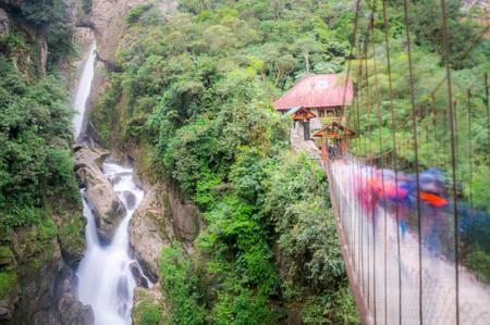 diablo: Pailon del Diablo: Mountain river and waterfall with a bridge in Banos, Ecuador.