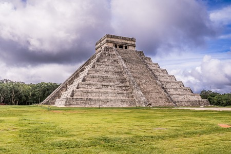 The infamous Maya pyramid in Yucatan, Mexico attracts millions of visitors. This is a rare shot of Chichen Itza with no tourists
