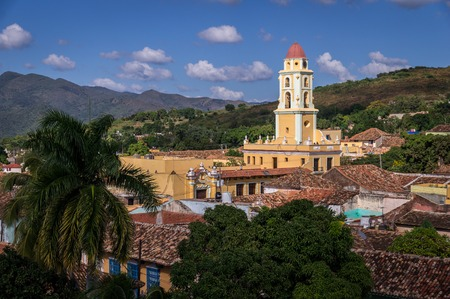View of Trinidads bell tower, colonibal Cuban architecture and landscape