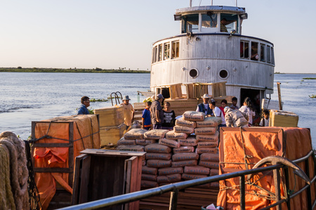 Rio Paraguay, Paraguay on August 7, 2015: The Aquidaban ship on its journey on Rio Paraguay from Concepcion to Bahia Negra. The ship carries all kinds of goods and groceries.