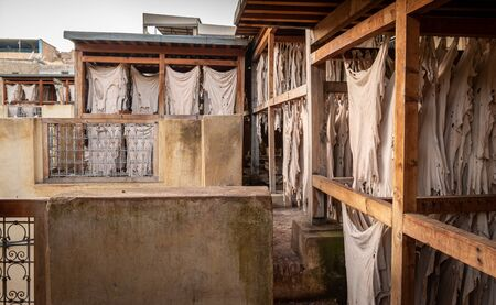 Drying and hanging leather in Chouara Tannery, Fez, Morocco