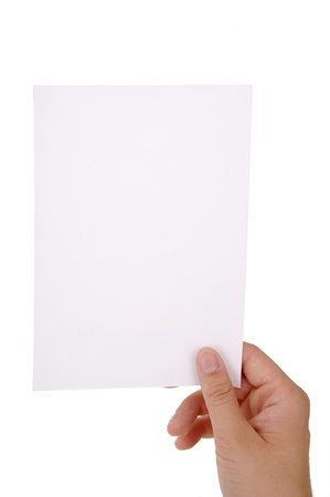 hand holding blank paper sheet with clipping paths Stock Photo - 17995198