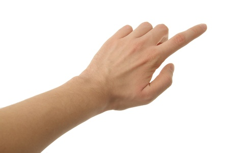 dictatorial: a photo of isolated hand with clipping path