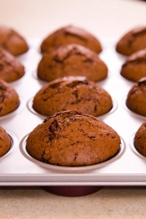 Frisch gebackene Schoko-Muffins Nahaufnahme schießen Standard-Bild - 18939186