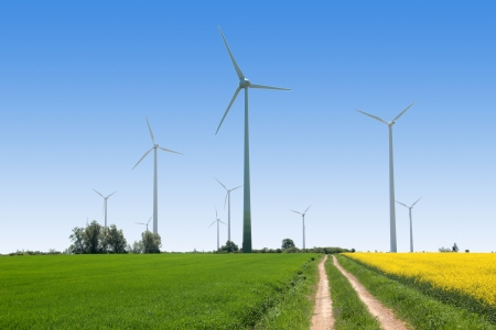 wind force wheel: Wind generators - Power from renewable source Stock Photo