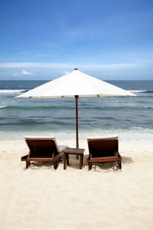 Beach Chair at Bali Island, Indonesia photo